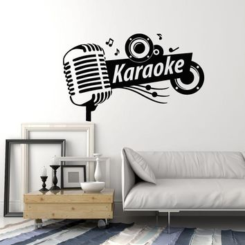 Karaoke Club Vinyl Wall Decal Sing Microphone Musical Art Decor Stickers Mural (ig5310)
