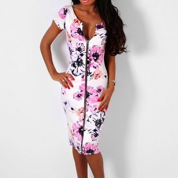 Kiandra Multicolour Floral Midi Dress | Pink Boutique