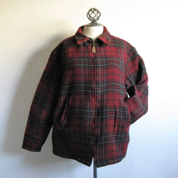 Vintage Woolrich Mid-90s Plaid Jacket 1990s Red Black Plaid Shearling Sherpa Lined Winter Jacket Mens Large
