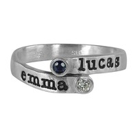 Personalized Overlapping Two Stone Ring - SR139-SSCZWG