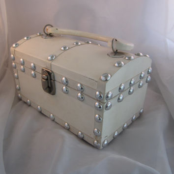 Vintage Wooden Box Purse Ivory with Studs by Encore