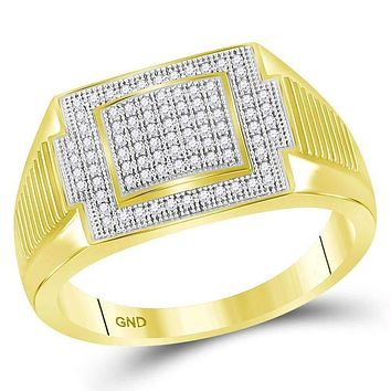 10kt Yellow Gold Men's Round Diamond Rectangle Cluster Ring 1/4 Cttw - FREE Shipping (US/CAN)