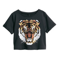 Black Tiger Print Short Sleeve Crop Tank