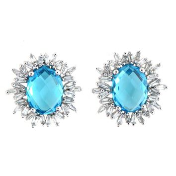 18k White Gold 0.54ct TDW Baguette Cut Diamond and 4.54ct TGW Blue Topaz Gemstone Stud Earrings