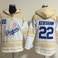 Los Angeles Dodgers Mens Sweaters #22 Clayton Kershaw White Baseball Hoodies Jersey Stitched 100% Name,Number and Logos 2905