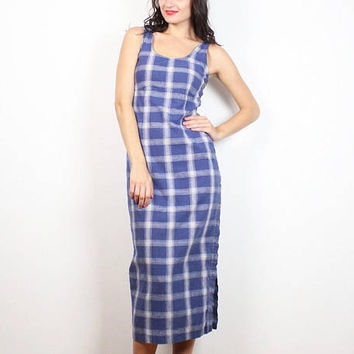 Vintage 90s Dress Blue White Plaid Midi Dress High Side Slit Overalls Dress 1990s Dress Jumper Dress Soft Grunge Sleeveless Sundress S Small