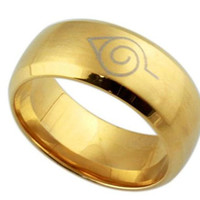 AMDXD Stainless Steel Rings MensWedding Bands Anime Naruto Rings Gold US Size 11