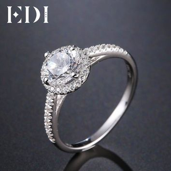 EDI Luxurious Halo 1ct Moissanites Diamond 14k 585 White Gold Engagement Rings For Women Wedding Bands Jewelry