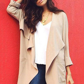 Long Sleeve with Collar Accent Long Coat