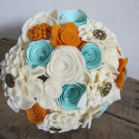 Gold, Aqua, and Antique White Felt and Paper Flower Alternative Wedding Bouquet - Centerpiece