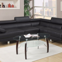 Modern Sectional Sofa Set Leather Couch Living Room Furniture Black