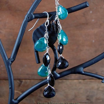 Mystic Green Onyx and Black Spinel Cascading Earrings Faceted Briolette Sterling Silver