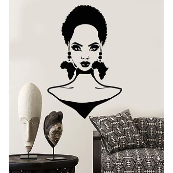 Vinyl Wall Decal African Girl Hairstyle Africa Continent Earrings Stickers Unique Gift (2094ig)
