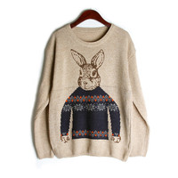 Sweater Lovely Rabbit Pullover Knit Tops Jacket [9176521476]