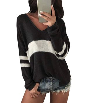 Center Stripe Plunge Neck Casual Long Sleeve Loose Pullover Sweater