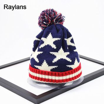Raylans Women Men Crochet Knitted Ball Stripe Stars Winter Warm Beanie Hat Ski Cap