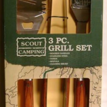 Boy Scout Camping 3 Piece Grill Set Wood Stainless Tong Spatula Clean Brush BSA
