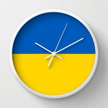 National flag of Ukraine, Authentic version (to scale and color) Wall Clock by Bruce Stanfield