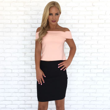 Kona Off Shoulder Top In Pink