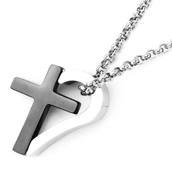Stainless Steel Black Rhodium Plated Two Tone Cross Heart Pendant Necklace: SOD