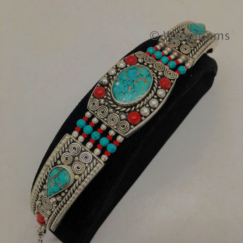Vintage Nepalese Red Coral & Green turquoise Inlay Statement Bib Bracelet, NPB28