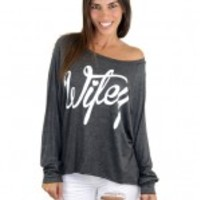 """Wifey"" Gray Long Sleeve Top"