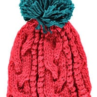 Heather Cable Knit Pom Pom Beanie