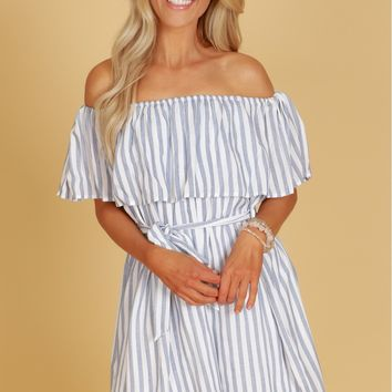 Off The Shoulder Striped Dress Blue
