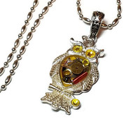 Cyberpunk Owl Necklace with Yellow Paint,  Steampunk Owl Pendant, Yellow and Red CyberPunk Owl, Circuit Board Owl