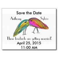 Save the Date Lovebirds Postcard