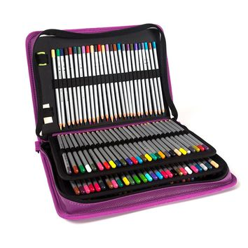 160 Holes Painting Pencil Case 4 layers High Capacity Multifunction Sketch High-end PU Elastic band Brush Pack Penalty