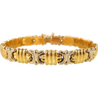Elegant Italian design stamped 18K solid gold bracelet, two tone fine gold jewelry, security clasp, fully hallmarked
