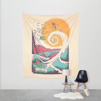 Surf Before Christmas Wall Tapestry by Victor Vercesi