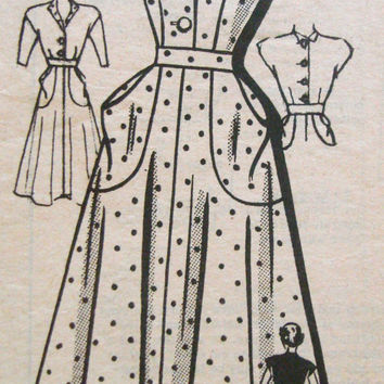 1940s Tea Dress Sewing Pattern Anne Adams 4759 Bust 30 Side Patch Pockets