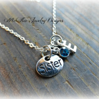 Sterling silver charm necklace. Your choice initial, charm, crystal and sterling silver chain.