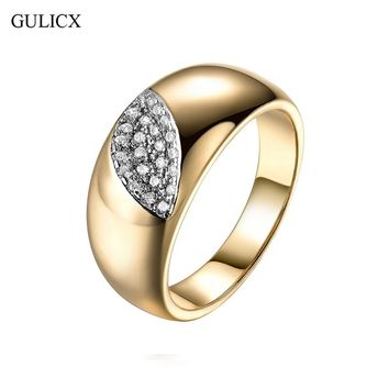 GULICX Evil Eye Shape Rings for Women Gold-color Round White Austrian Crystal Rings Zircon CZ Band Engagement Ring