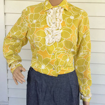 Yellow Floral Western Blouse Lace Pearl Button Long Sleeve Shirt Westerner Vintage 70s 32 XS S