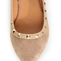 City Classified Money Taupe Studded Pointed Flats - $22.00