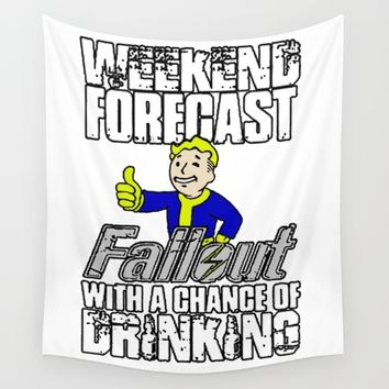 Fallout Weekend Forecast - funny drinking with Vault Boy Wall Tapestry by Peter Reiss
