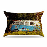 """Angie Turner """"Hippie Bus"""" Blue Yellow Pillow Case"""