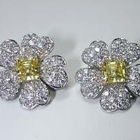 6.12ct Fancy Yellow and White Diamond Earrings Flower Design GIA Certified JEWELFORME BLUE