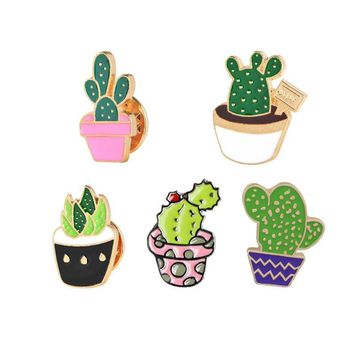 Trendy Cute Cartoon Enamel Metal Badges Brooches Cactus Potted Plant Buckle Pins Denim Jackets Decoration Brooch Pin for Women Jewelry AT_94_13