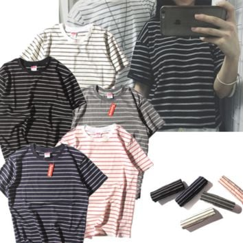 Simple wild color stripe t-shirt