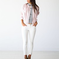 Free People Pink Bomber Jacket - Luca + Grae