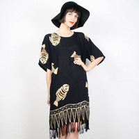 Vintage 90s Dress Grunge Dress Boho Dress Black Gold Fringe Hem Dress Caftan Kaftan Hippie Dress Fish 1990s Dress M Medium L XL Extra Large