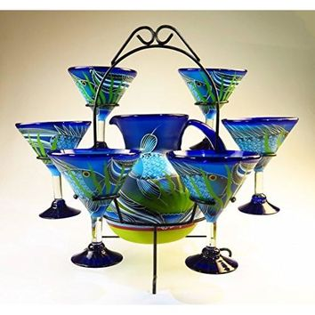 Mexican Margarita/Martini Glasses and Pitcher set with dispaly rack, Hand Blown, Hand Painted, Blue with Fish in the Sea design