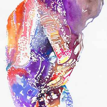 Fashion Print of Watercolour Painting, Fashion Illustration. Titled - Scarlett