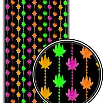 Beaded Curtains - Black Light Reactive Neon Pot Leaf Door Beads #61140