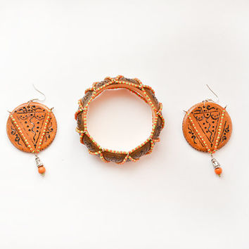 Tribal Jewelry Set - Statement Bangle and Earrings - Engraved Wood Jewelry