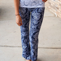 Lace Waist Paisley Yoga Pants Navy